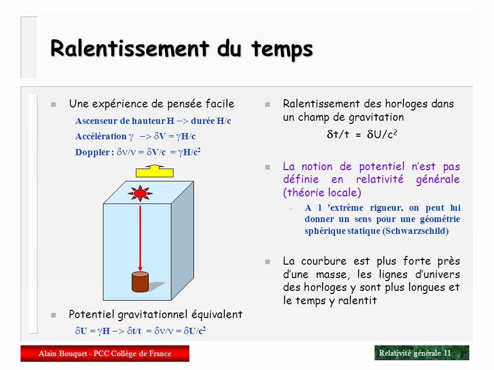 Relativité générale 10 Alain Bouquet - PCC Collège de France 10 Déviation de la lumière n Un rayon de lumière traverse un ascenseur en accélération n
