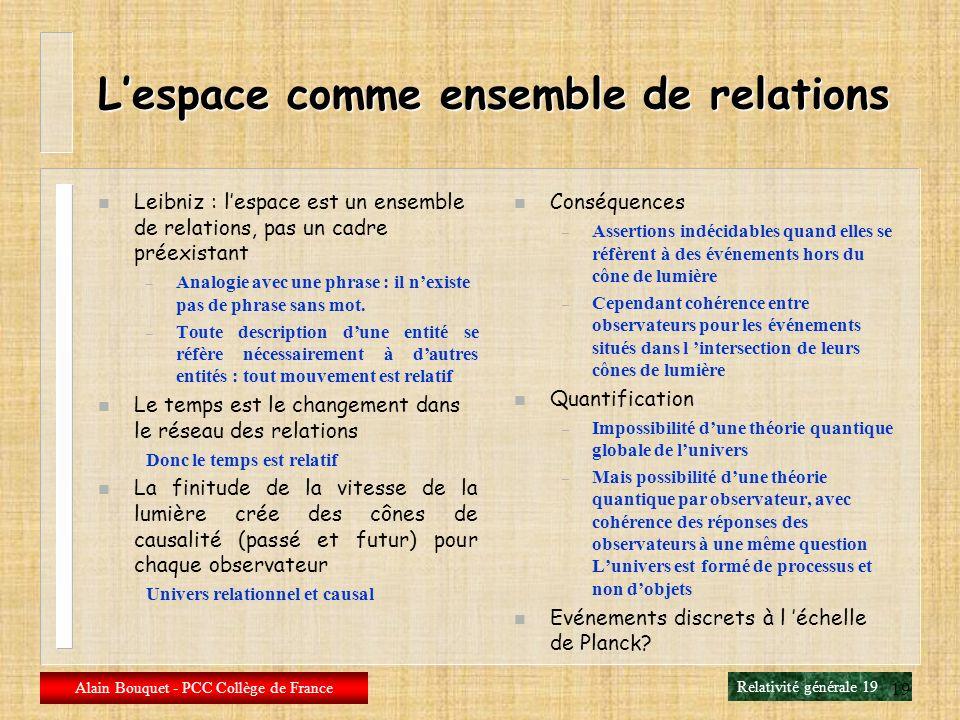 Relativité générale 18 Alain Bouquet - PCC Collège de France 18 Un autre exemple simple Une densité uniforme de masse Une courbure spatiale partout id