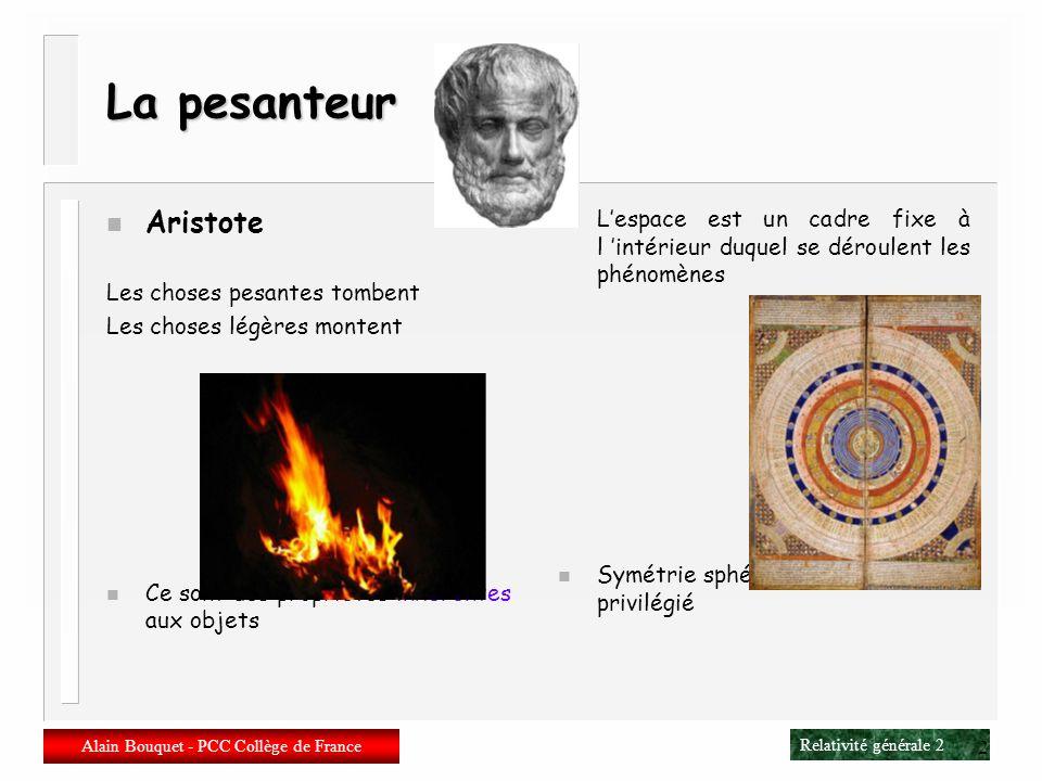 Alain Bouquet PCC- Collège de France - Mars 2003 Eléments de relativité générale