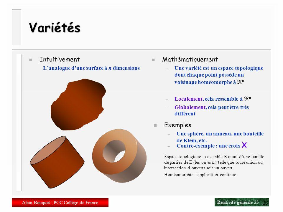 Relativité générale 22 Alain Bouquet - PCC Collège de France 22 Modifier la géométrie n Il faut abandonner Euclide ou plus exactement Minkowski n Il f