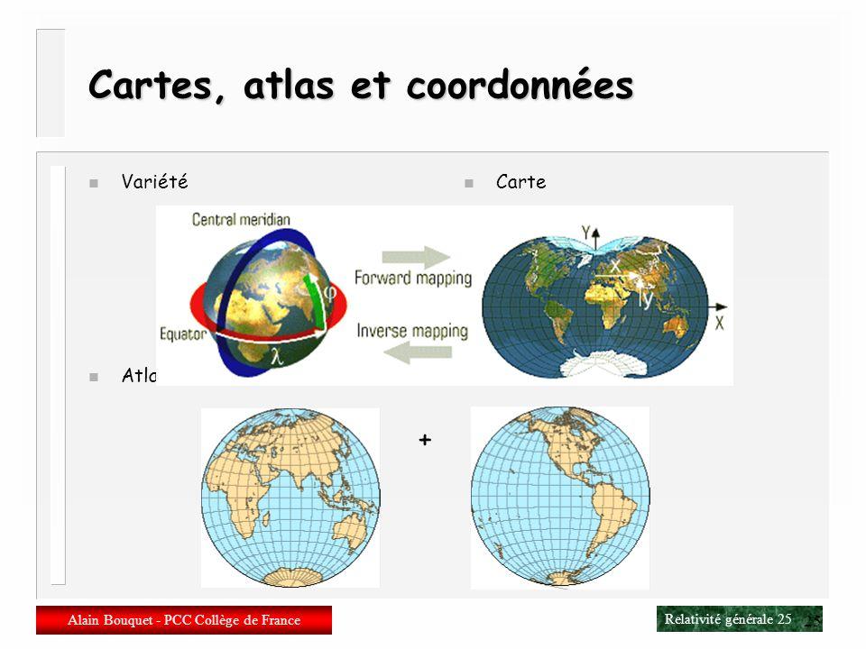 Relativité générale 24 Alain Bouquet - PCC Collège de France 24 Variétés différentiables n Variété différentiable Variété « lisse », sans point angule