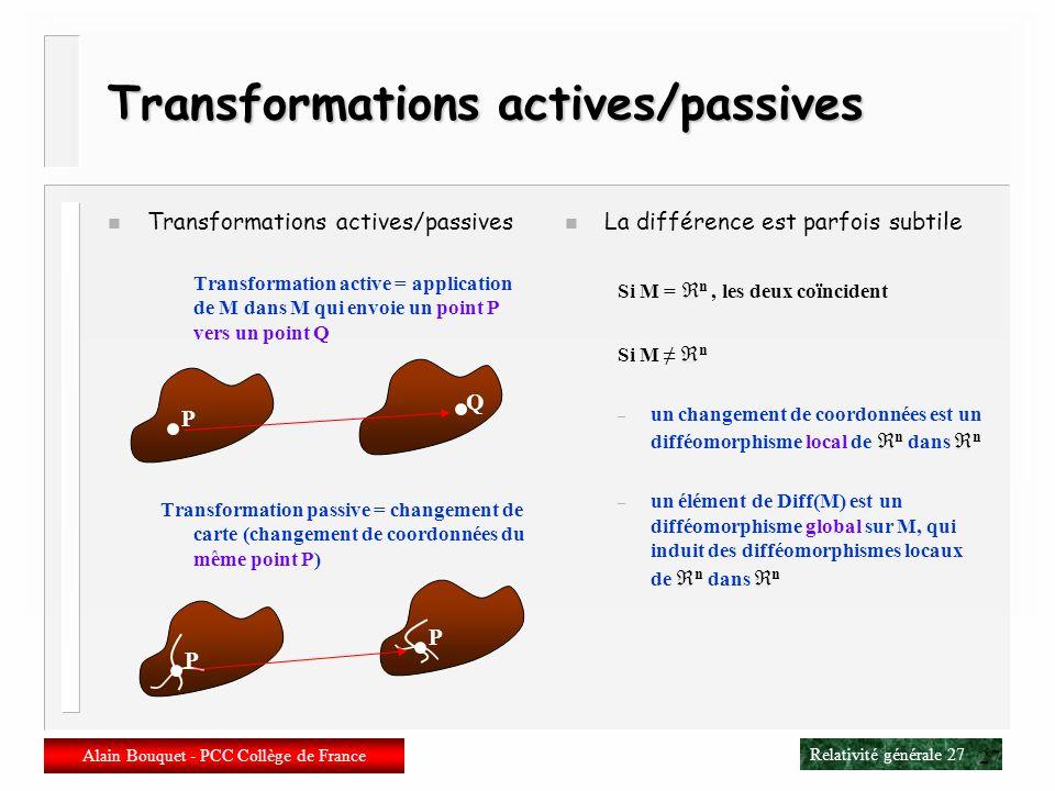 Relativité générale 26 Alain Bouquet - PCC Collège de France 26 Difféomorphismes n Application différentiable dune variété M sur elle-même Définie loc