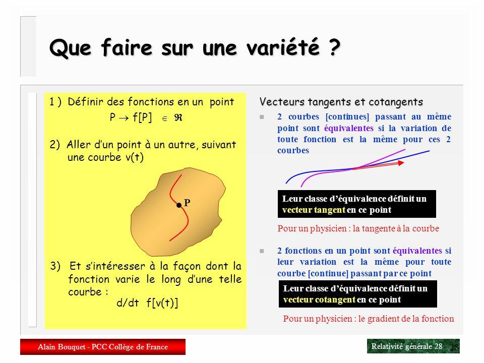 Relativité générale 27 Alain Bouquet - PCC Collège de France 27 Transformations actives/passives n Transformations actives/passives Transformation act