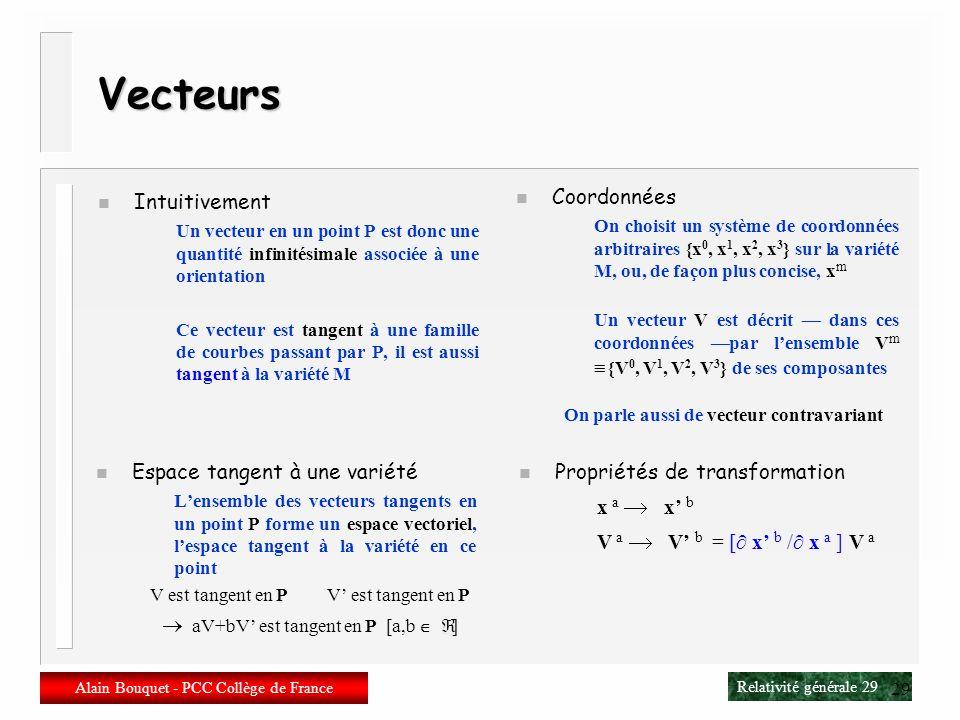 Relativité générale 28 Alain Bouquet - PCC Collège de France 28 Que faire sur une variété ? 1 ) Définir des fonctions en un point P f[P] 2) Aller dun
