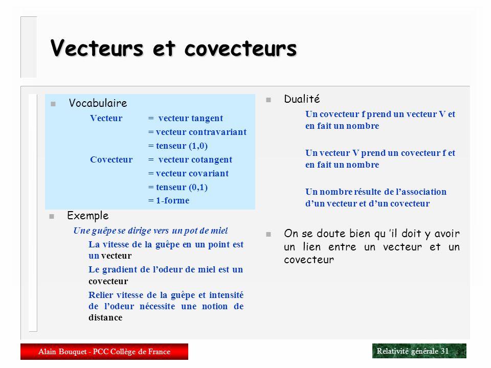 Relativité générale 30 Alain Bouquet - PCC Collège de France 30 Covecteurs n Covecteur (vecteur cotangent) Classe déquivalence des fonctions en un poi