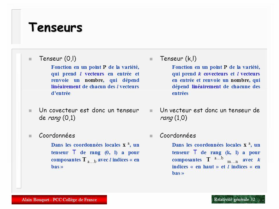 Relativité générale 31 Alain Bouquet - PCC Collège de France 31 Vecteurs et covecteurs n Vocabulaire Vecteur= vecteur tangent = vecteur contravariant