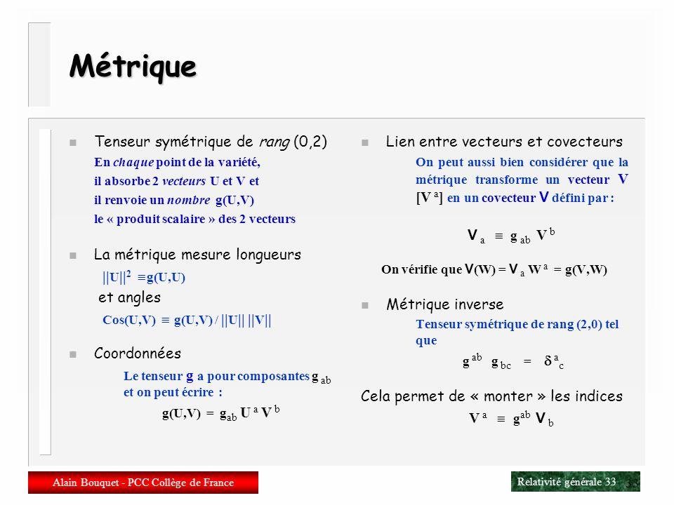 Relativité générale 32 Alain Bouquet - PCC Collège de France 32 Tenseurs n Tenseur (0,l) Fonction en un point P de la variété, qui prend l vecteurs en