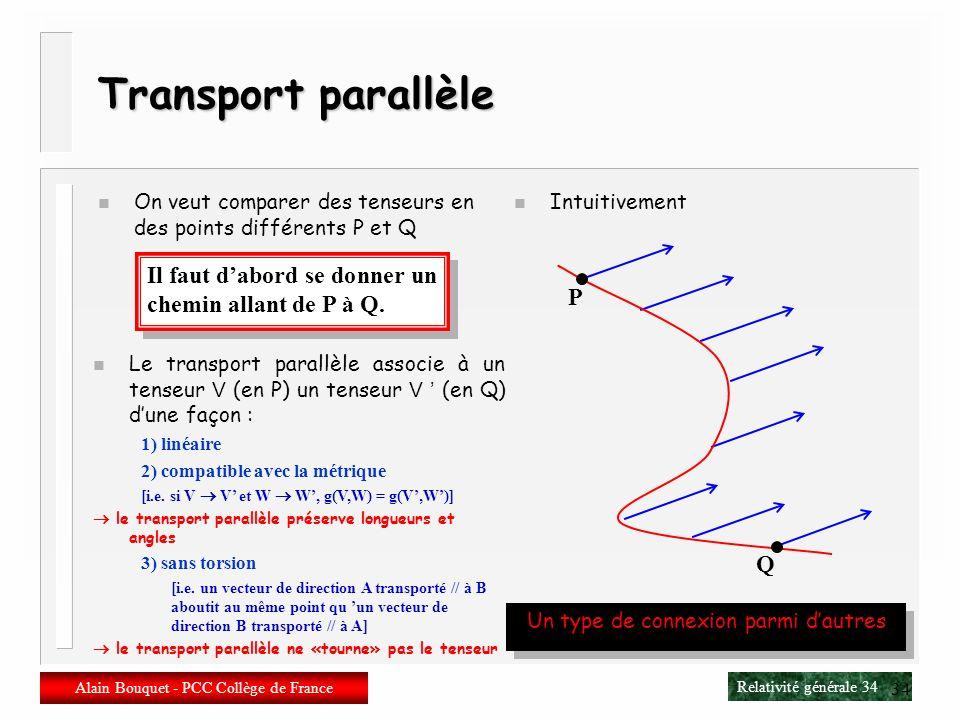 Relativité générale 33 Alain Bouquet - PCC Collège de France 33 Métrique n Tenseur symétrique de rang (0,2) En chaque point de la variété, il absorbe
