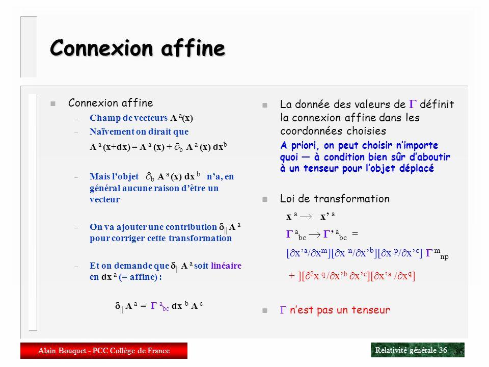 Relativité générale 35 Alain Bouquet - PCC Collège de France 35 Connexions et holonomie n Fibrés Espace de base : la variété M Fibre : une symétrie lo