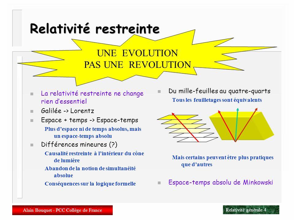 Relativité générale 4 Alain Bouquet - PCC Collège de France 4 Relativité restreinte n La relativité restreinte ne change rien dessentiel n Galilée -> Lorentz n Espace + temps -> Espace-temps Plus despace ni de temps absolus, mais un espace-temps absolu n Différences mineures (?) Causalité restreinte à lintérieur du cône de lumière Abandon de la notion de simultanéité absolue Conséquences sur la logique formelle n Du mille-feuilles au quatre-quarts Tous les feuilletages sont équivalents Mais certains peuvent être plus pratiques que dautres n Espace-temps absolu de Minkowski UNE EVOLUTION PAS UNE REVOLUTION