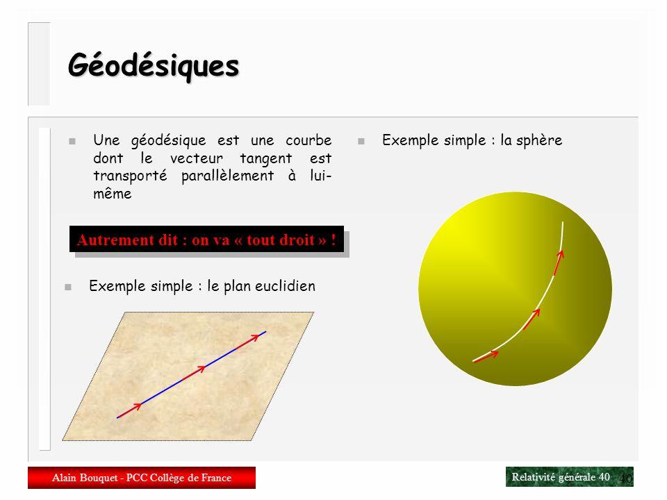 Relativité générale 39 Alain Bouquet - PCC Collège de France 39 Connexion métrique (symbole de Christoffel) n La connexion affine ne suppose pas lexis