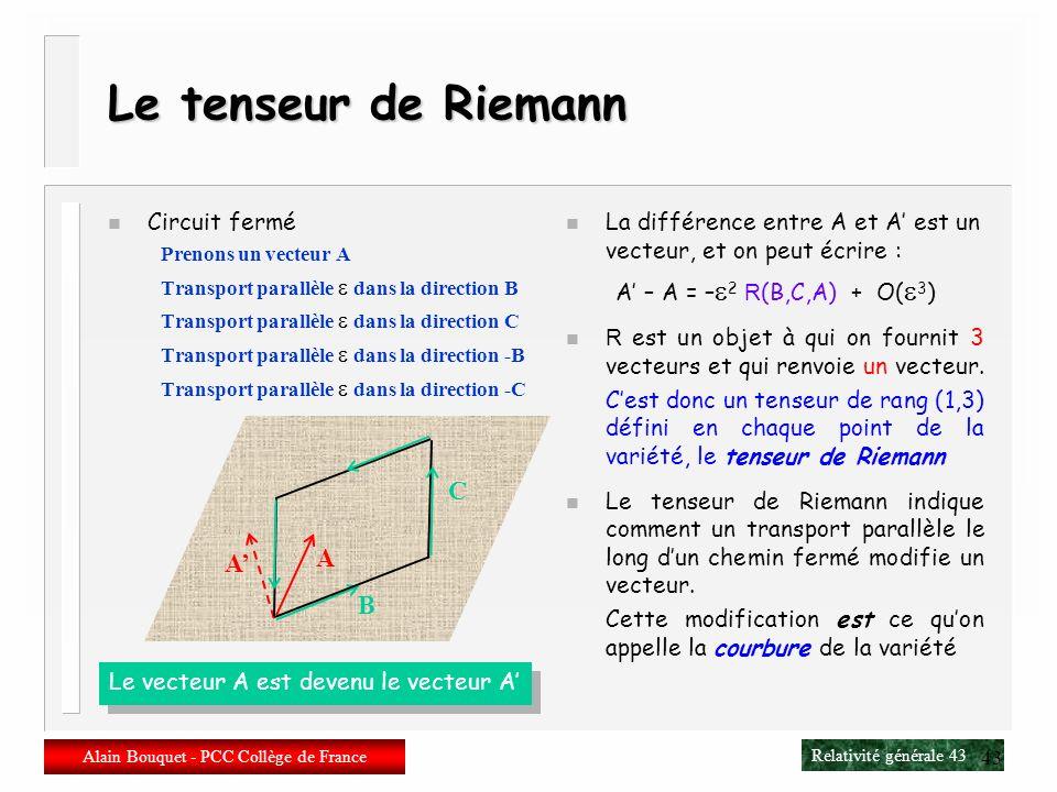 Relativité générale 42 Alain Bouquet - PCC Collège de France 42 Riemann n Bernhard Riemann 1826-1866 1851 : thèse de doctorat C 1851 : surfaces de Rie