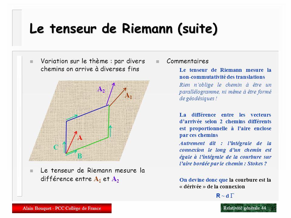 Relativité générale 43 Alain Bouquet - PCC Collège de France 43 Le tenseur de Riemann n Circuit fermé Prenons un vecteur A Transport parallèle dans la