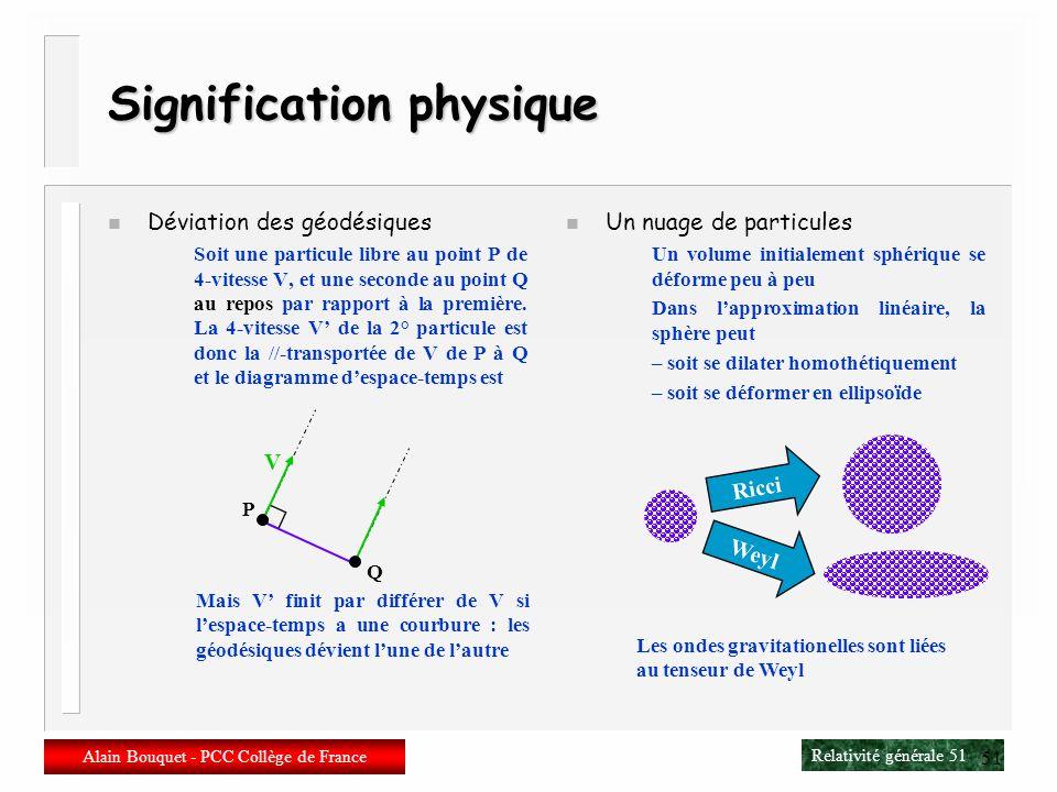 Relativité générale 50 Alain Bouquet - PCC Collège de France 50 Le tenseur de Weyl n Conceptuellement Weyl = Riemann – Ricci n Mathématiquement W abcd