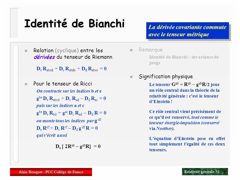 Relativité générale 51 Alain Bouquet - PCC Collège de France 51 Signification physique n Un nuage de particules Un volume initialement sphérique se dé
