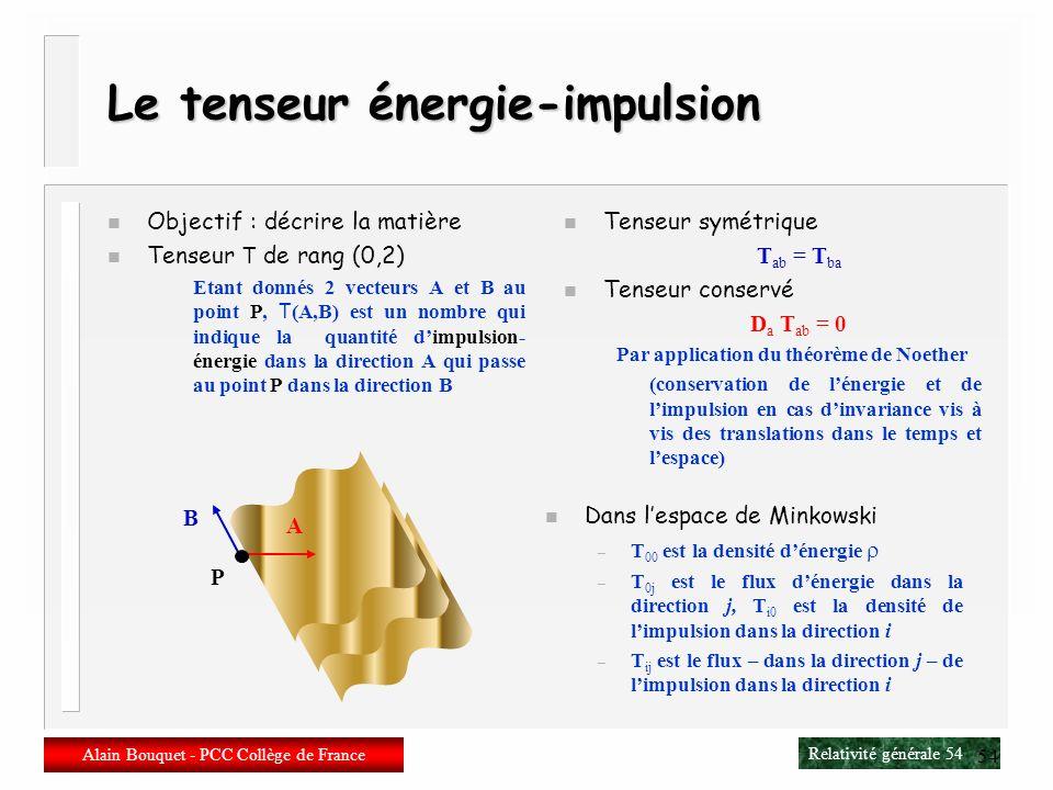 Relativité générale 53 Alain Bouquet - PCC Collège de France 53 Et la gravitation dans tout çà ? n Les théories métriques de la gravitation possèdent