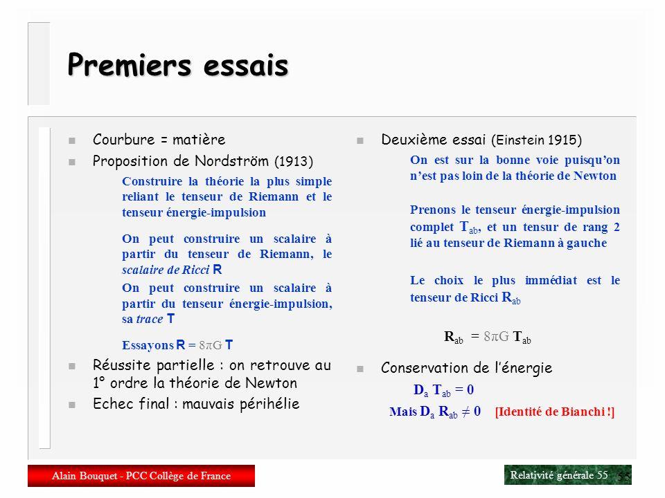 Relativité générale 54 Alain Bouquet - PCC Collège de France 54 Le tenseur énergie-impulsion n Objectif : décrire la matière Tenseur T de rang (0,2) E