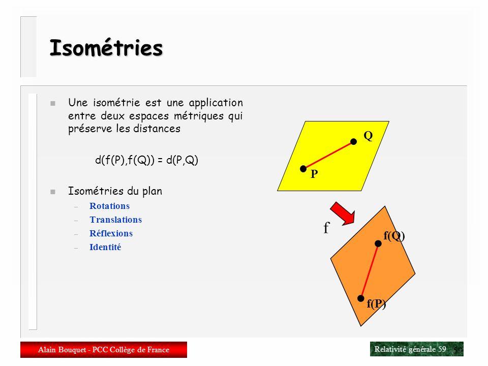 Relativité générale 58 Alain Bouquet - PCC Collège de France 58 Action dEinstein-Hilbert-Cartan n Principe daction La trajectoire dune particule libre