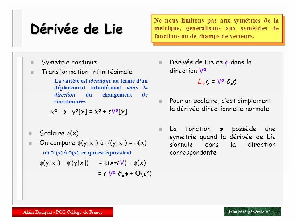 Relativité générale 61 Alain Bouquet - PCC Collège de France 61 Physiquement n Voisinage dun point P n Le voisinage du point P après la transformation