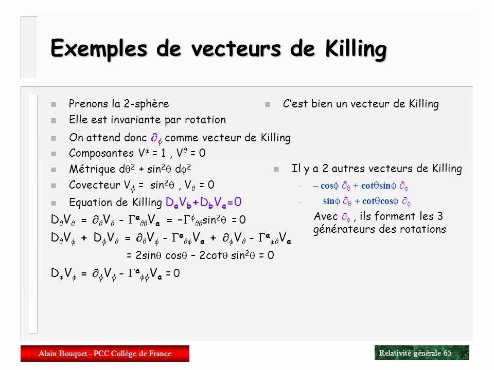 Relativité générale 64 Alain Bouquet - PCC Collège de France 64 Isométries et vecteurs de Killing n Dérivée de Lie de la métrique L V g ab = V c D c g
