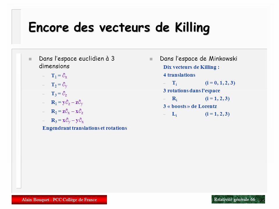 Relativité générale 65 Alain Bouquet - PCC Collège de France 65 Exemples de vecteurs de Killing n Prenons la 2-sphère n Elle est invariante par rotati
