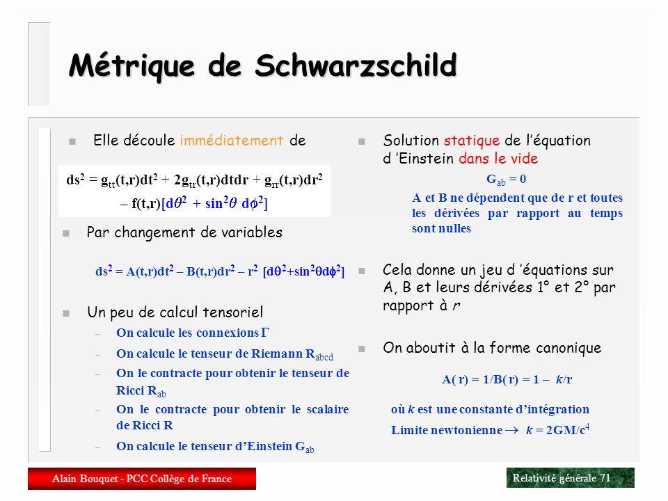 Relativité générale 70 Alain Bouquet - PCC Collège de France 70 Sous-espaces maximalement symétriques n On ne veut pas dun espace-temps maximalement s