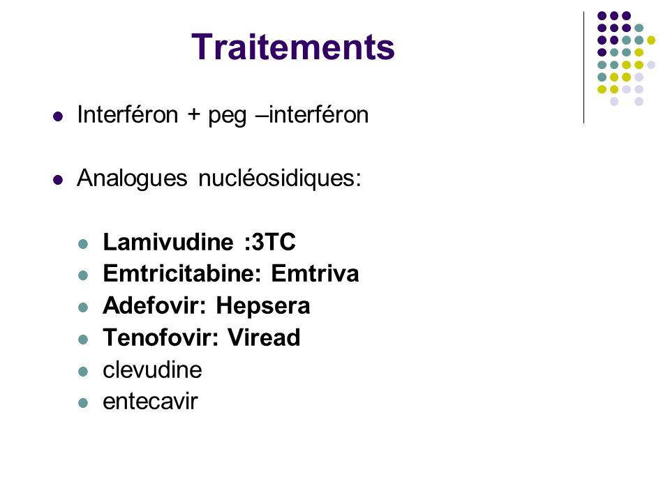 Traitements Interféron + peg –interféron Analogues nucléosidiques: Lamivudine :3TC Emtricitabine: Emtriva Adefovir: Hepsera Tenofovir: Viread clevudin