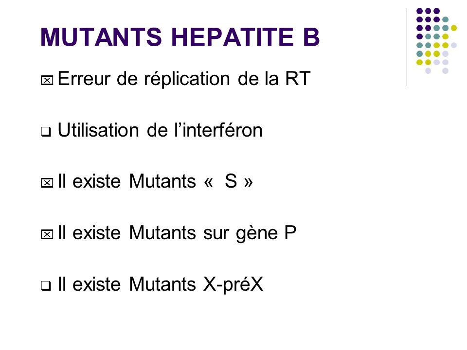 MUTANTS HEPATITE B Erreur de réplication de la RT Utilisation de linterféron Il existe Mutants « S » Il existe Mutants sur gène P Il existe Mutants X-