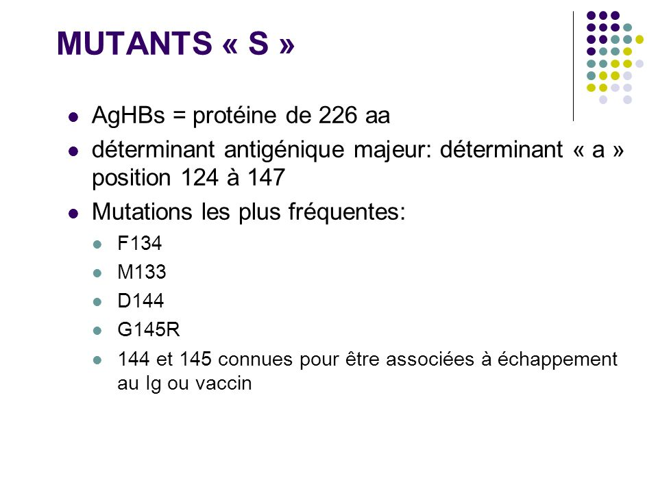 MUTANTS « S » AgHBs = protéine de 226 aa déterminant antigénique majeur: déterminant « a » position 124 à 147 Mutations les plus fréquentes: F134 M133