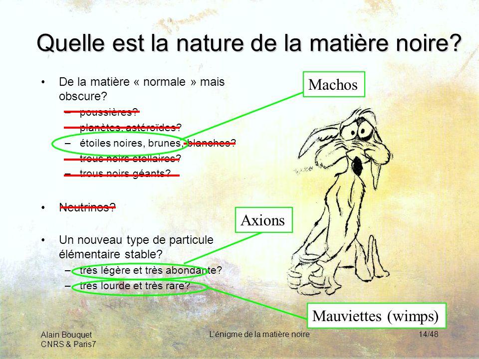 Alain Bouquet CNRS & Paris7 Lénigme de la matière noire14/48 Quelle est la nature de la matière noire? De la matière « normale » mais obscure? –poussi