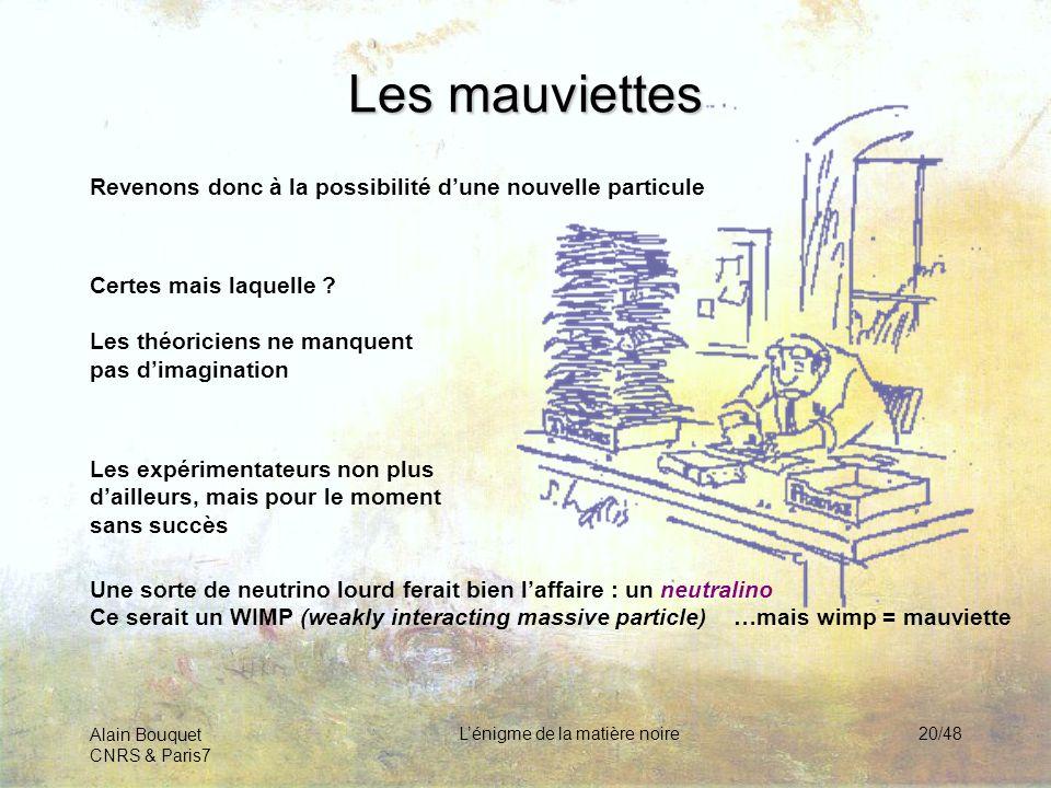 Alain Bouquet CNRS & Paris7 Lénigme de la matière noire20/48 Les mauviettes Revenons donc à la possibilité dune nouvelle particule Certes mais laquell