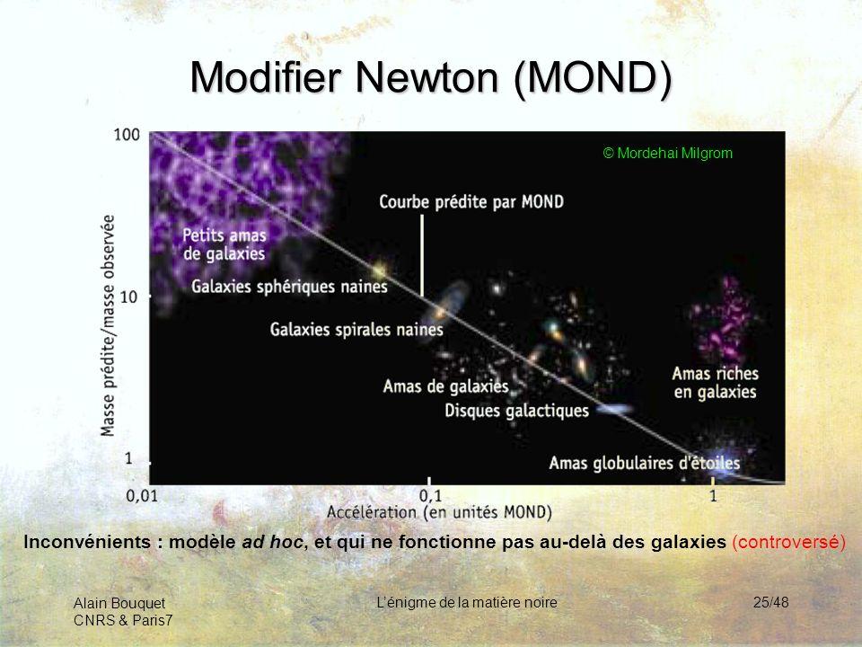 Alain Bouquet CNRS & Paris7 Lénigme de la matière noire25/48 Modifier Newton (MOND) © Mordehai Milgrom Inconvénients : modèle ad hoc, et qui ne foncti