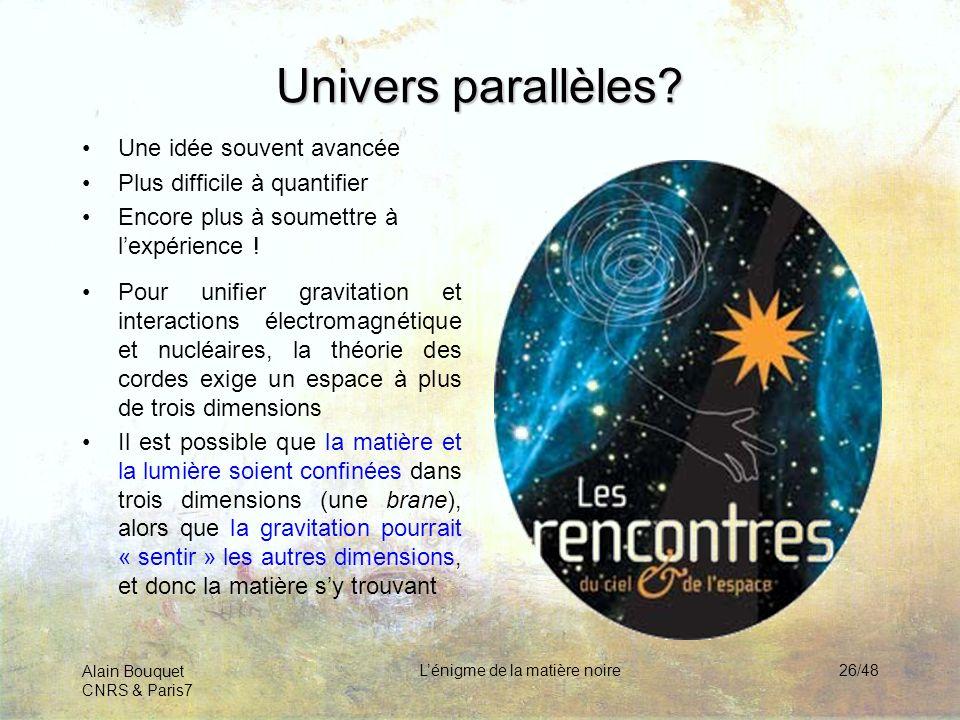 Alain Bouquet CNRS & Paris7 Lénigme de la matière noire26/48 Univers parallèles? Une idée souvent avancée Plus difficile à quantifier Encore plus à so