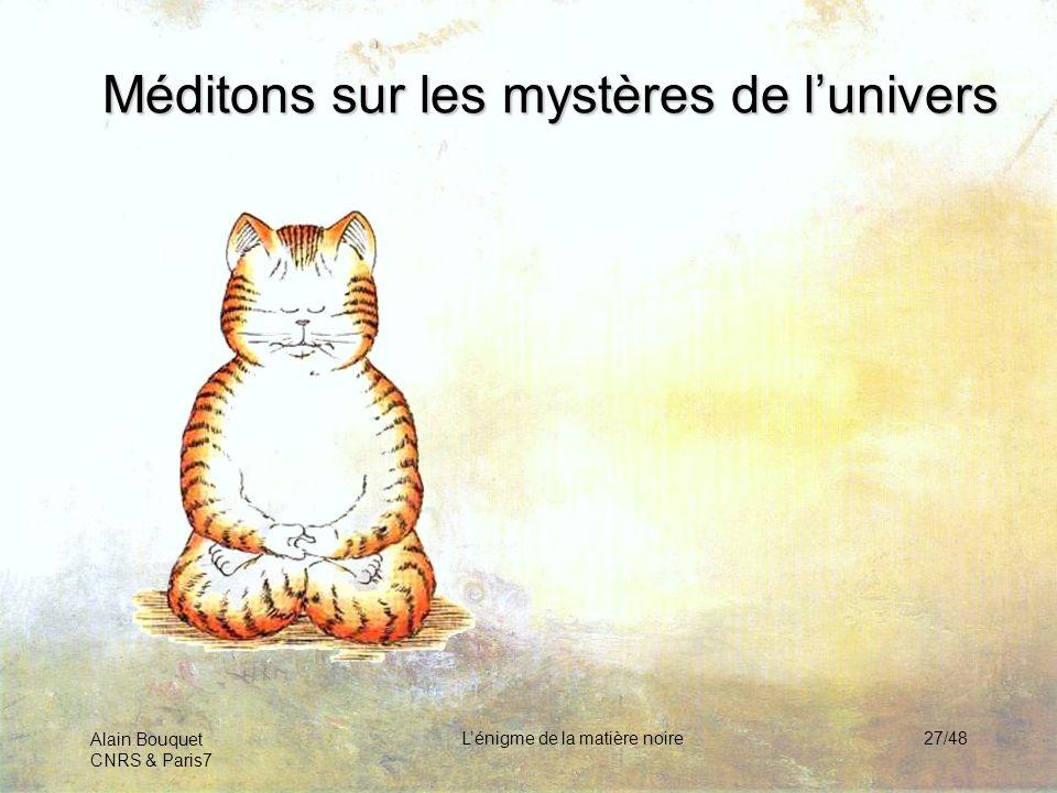 Alain Bouquet CNRS & Paris7 Lénigme de la matière noire27/48 Méditons sur les mystères de lunivers