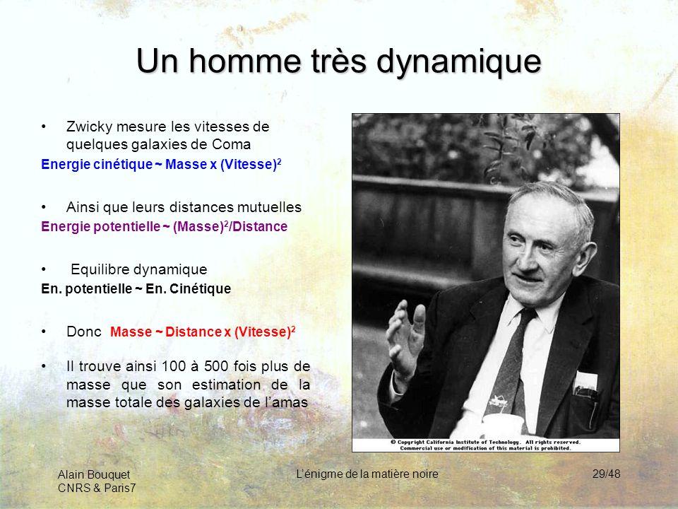 Alain Bouquet CNRS & Paris7 Lénigme de la matière noire29/48 Un homme très dynamique Zwicky mesure les vitesses de quelques galaxies de Coma Energie c