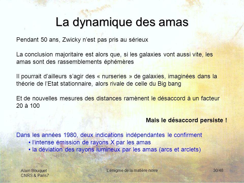 Alain Bouquet CNRS & Paris7 Lénigme de la matière noire30/48 La dynamique des amas Pendant 50 ans, Zwicky nest pas pris au sérieux La conclusion major