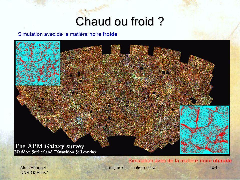 Alain Bouquet CNRS & Paris7 Lénigme de la matière noire46/48 Chaud ou froid ? Simulation avec de la matière noire froide Simulation avec de la matière