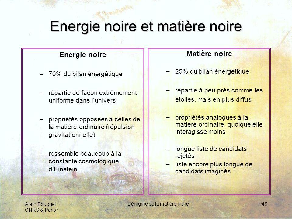 Alain Bouquet CNRS & Paris7 Lénigme de la matière noire7/48 Energie noire et matière noire Energie noire –70% du bilan énergétique –répartie de façon