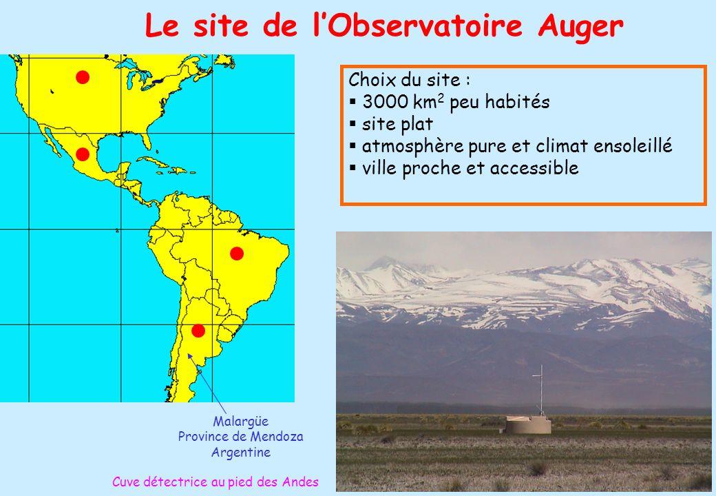 26 Le site de lObservatoire Auger Malargüe Province de Mendoza Argentine Choix du site : 3000 km 2 peu habités site plat atmosphère pure et climat ens