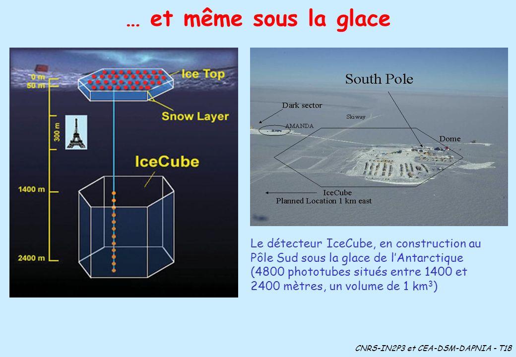 … et même sous la glace Le détecteur IceCube, en construction au Pôle Sud sous la glace de lAntarctique (4800 phototubes situés entre 1400 et 2400 mèt
