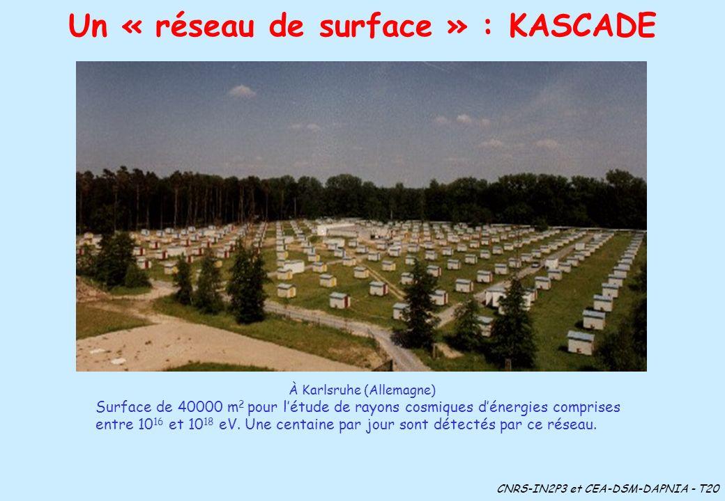 Un « réseau de surface » : KASCADE À Karlsruhe (Allemagne) Surface de 40000 m 2 pour létude de rayons cosmiques dénergies comprises entre 10 16 et 10