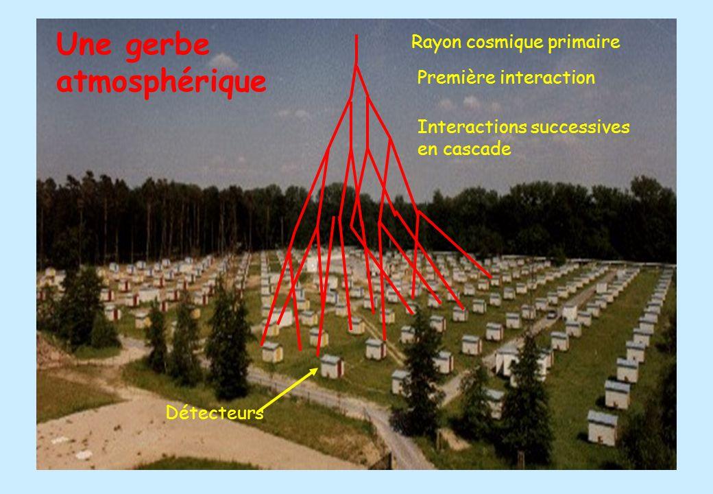 Une gerbe atmosphérique kascade+gerbe Rayon cosmique primaire Première interaction Interactions successives en cascade Détecteurs