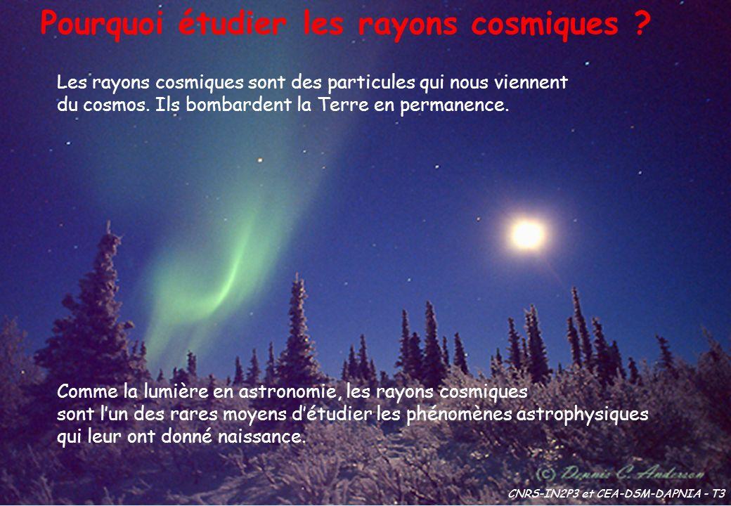Les rayons cosmiques sont des particules qui nous viennent du cosmos. Ils bombardent la Terre en permanence. Comme la lumière en astronomie, les rayon