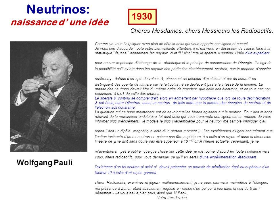 Les acteurs Puis dans une deuxième phase dautres types de neutrinos sont produits avec des accélérateurs... dès 1963... En 1968 R.Davis détecte pour l