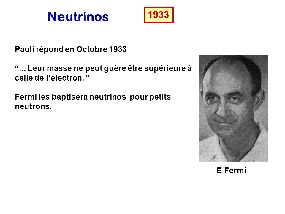 J Chadwick Neutrinos ou neutrons 1932 Chadwick découvre le neutron mais celui-ci est trop lourd pour être la particule de Pauli. Pauli répond ….
