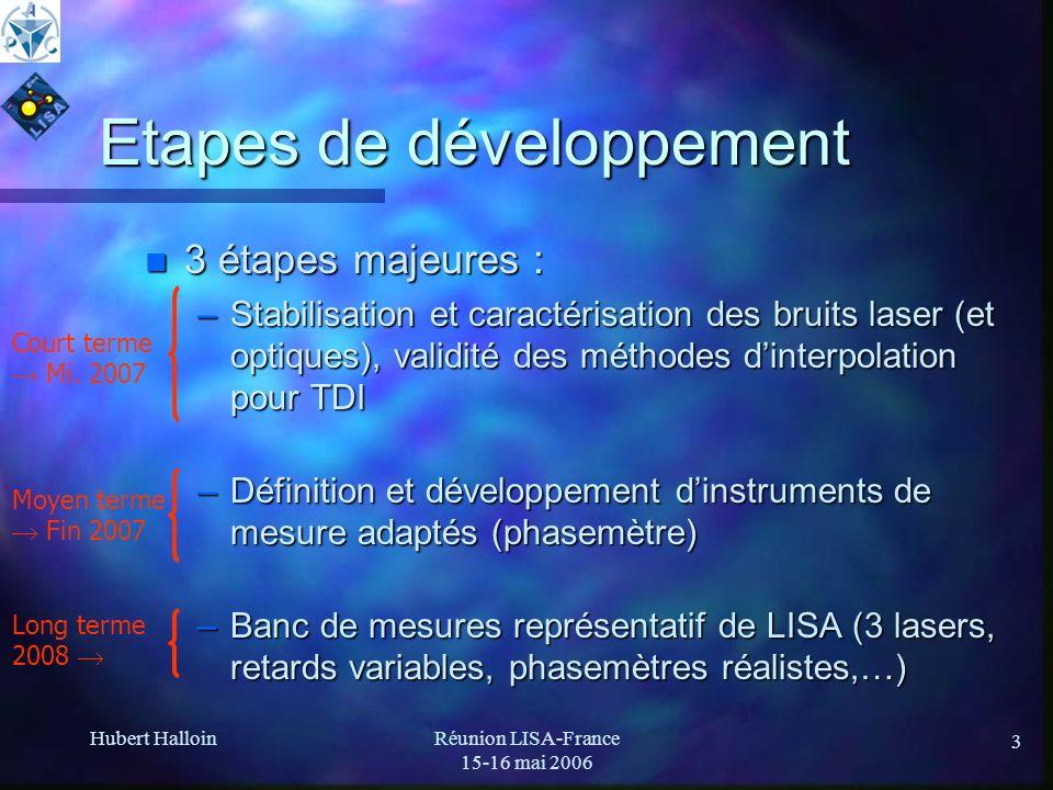 Hubert HalloinRéunion LISA-France 15-16 mai 2006 3 Etapes de développement n 3 étapes majeures : –Stabilisation et caractérisation des bruits laser (e