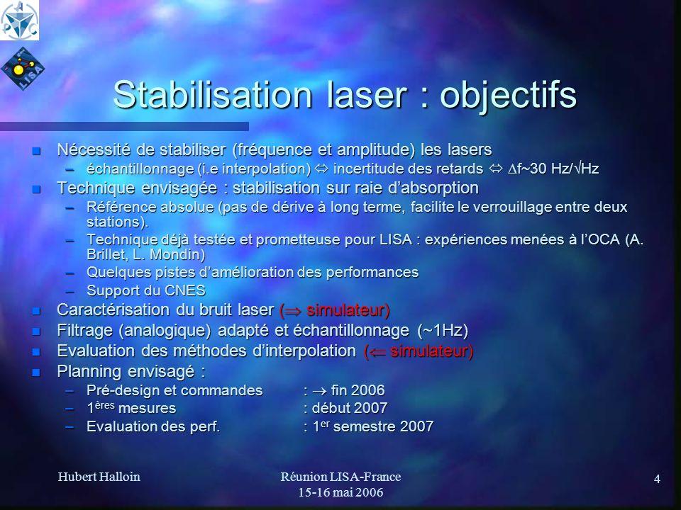 Hubert HalloinRéunion LISA-France 15-16 mai 2006 4 Stabilisation laser : objectifs n Nécessité de stabiliser (fréquence et amplitude) les lasers –écha