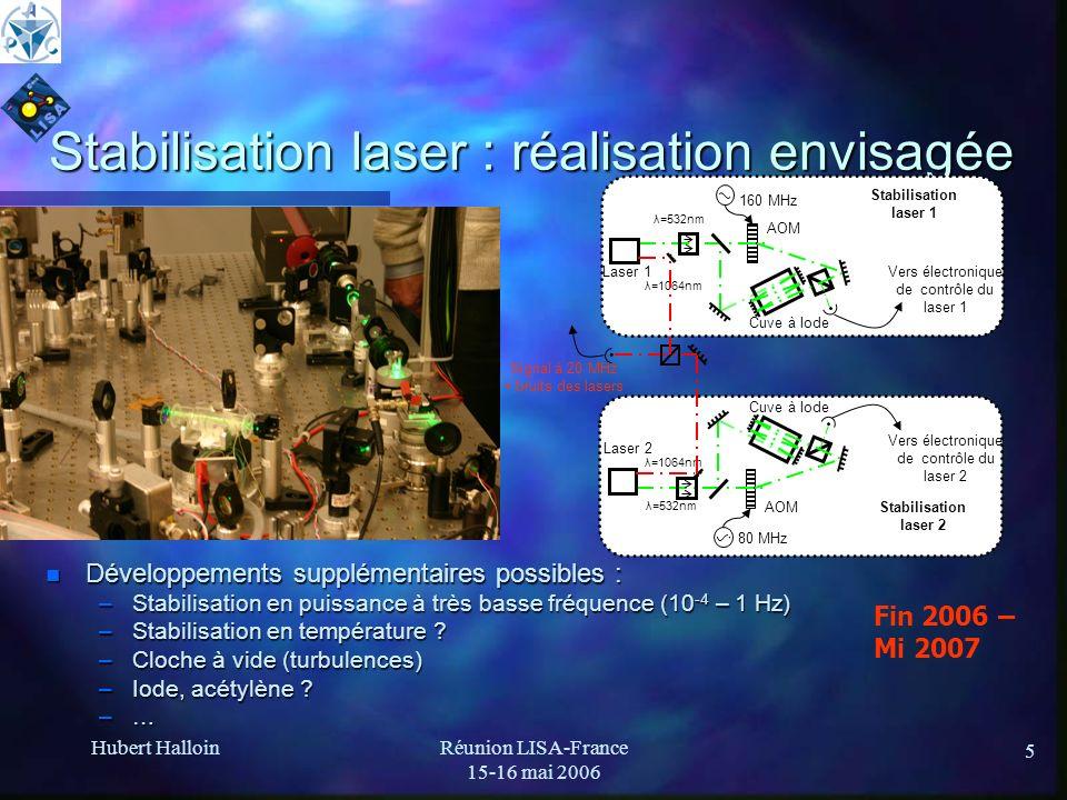 Hubert HalloinRéunion LISA-France 15-16 mai 2006 5 Stabilisation laser : réalisation envisagée n Développements supplémentaires possibles : –Stabilisa