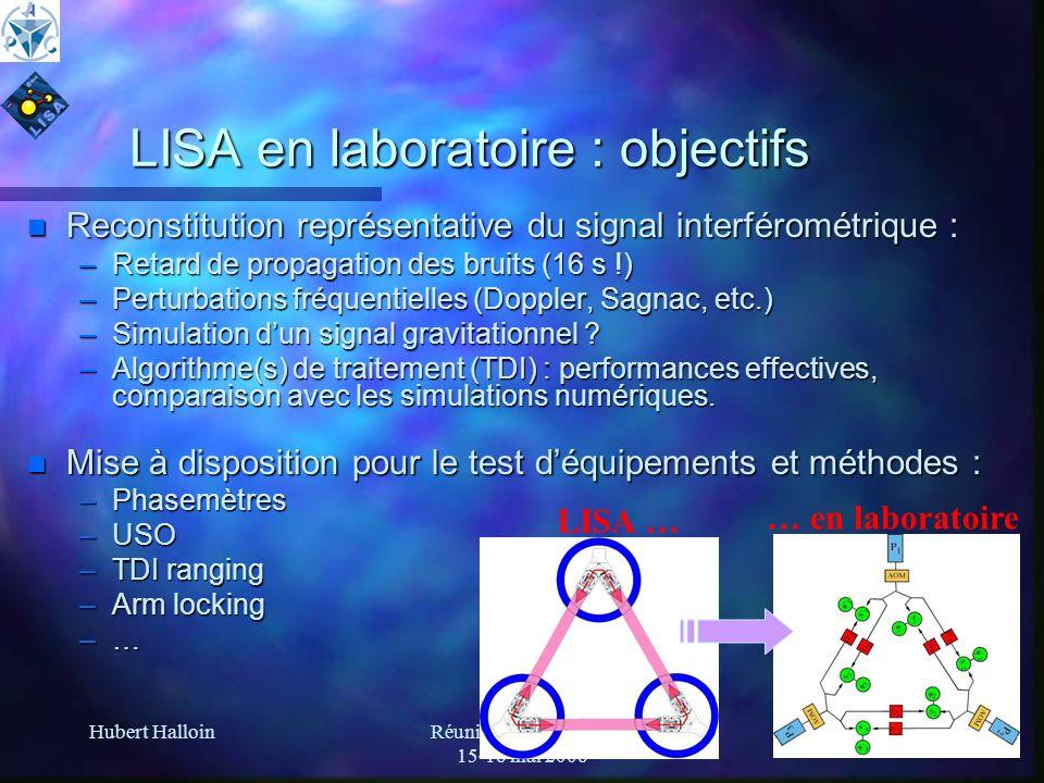 Hubert HalloinRéunion LISA-France 15-16 mai 2006 8 LISA en laboratoire : objectifs n Reconstitution représentative du signal interférométrique : –Reta