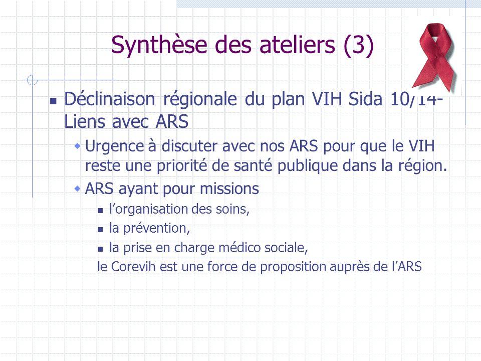 Synthèse des ateliers (3) Déclinaison régionale du plan VIH Sida 10/14- Liens avec ARS Urgence à discuter avec nos ARS pour que le VIH reste une priorité de santé publique dans la région.